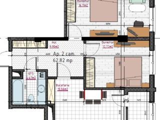 Ap. cu 2 camere 62,82m2, etaj 4 din 9, varianta albă! 30780!
