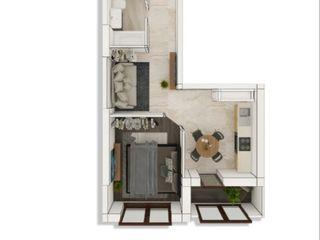 1 cameră cu living și balcon