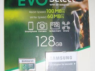 Micro SDXC SAMSUNG EVO Select 128 GB, 256 GB, 512 GB, 100 mb/s, U3, NOU, sigilat. Original