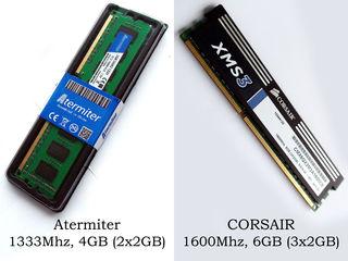 DDR3 4GB (2x2GB) - 6GB (2x3GB) CORSAIR 1600MHz PC3-12800, Atermiter 1333MHz PC3-10600