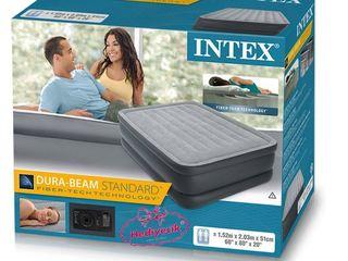 Двуспальная надувная кровать INTEX 64140 (203Х152X51 СМ.) со встроенным насосом 220В