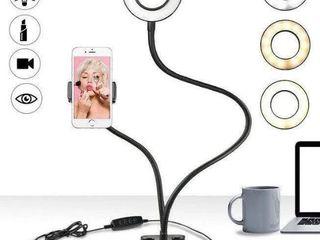 Держатель для телефона с LED подсветкой кольцо на прищепке Stativ  telefon cu inel de iluminare LED