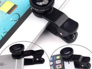 Obiectiv universal, superangular Fisheye Lens 3 in 1 compatibil cu Smartphone /  Tablete