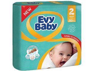 Evy Baby подгузники 2, 3-6кг. 80 шт