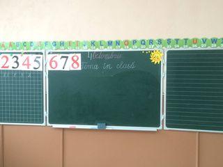 Tabla scolara metalo-ceramica magnetica triptica/Школьная магнитная доска для письма мелом