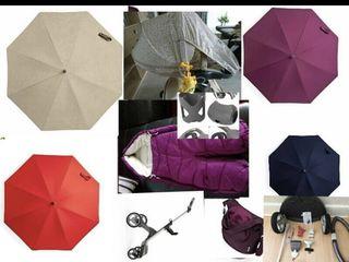 Accesorii piese noi originale stokke Norvegia  sasiu,umbrela,plasa,pelicula,footmuff,pahar,kit,geant
