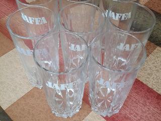 ф.1: высокие стаканы Jaffa из толстого стекла - 50л. за 8 шт.; ф.2: новая хрустальная пепельница-70л