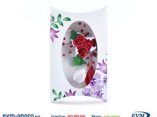 Martisor мэрцишор артикул v51 handmade два подснежника три розы три белых цветка с тычинками в короб