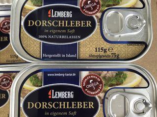 Печень трески - ficat de cod. Lemberg Germany.