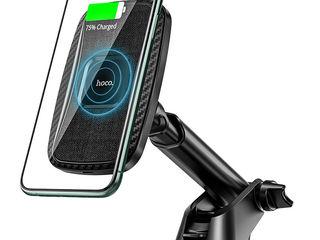 Авто держатель с зарядкой Hoco CA75 Magnetic (Wireless Charger 15W) Black + Garanție