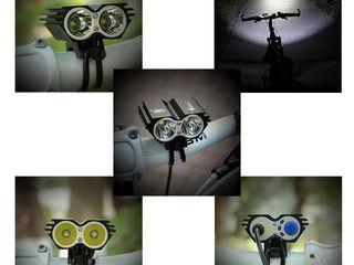 "Фара велосипедная ""Сова"" 2*700lm cree XML-U2 Светодиод Cree XM-L2 (T6) без Элементов питания 18650 С"