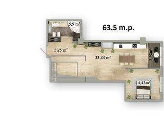 Centru 64 m2:  2 camere & living // garaj //
