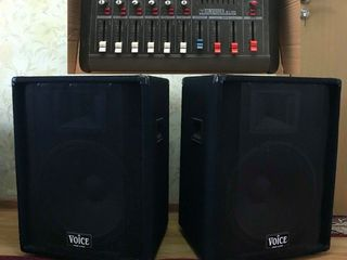 "Sistem acustic :,, M-Voice ""   mixer-amplificator - (2x500) , boxe microfon,  tot la  400 euro  !!!!"