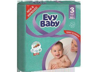 Evy Baby подгузники Midi 3, 5-9кг. 90 шт