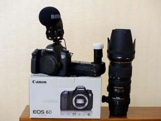 De vinzare canon 6d+obectiv sigma 70-200mm 1.2.8 apo dg hsm+microfon videomicpro rode+battery grip
