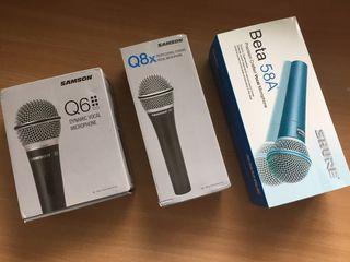 Микрофоны Shure beta 58A (репл), Samson Q6 (ориг), Samson Q8X (ориг)