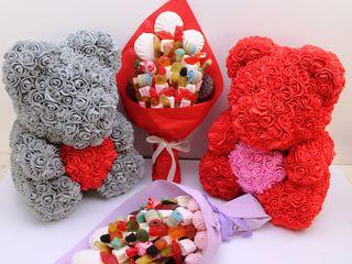Мишки из роз ,  подарочные боксы