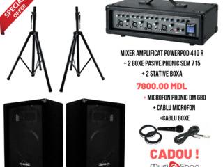 Set Mixer + 2 Boxe + 2 Stative + Microfon,Cablu Microfon si Cablu Boxe Cadou!