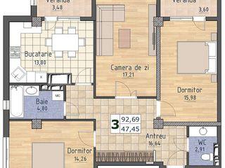 Se vinde apartament cu 3 odai, Biucani, 94 m2! Compania de constructii Comalion!
