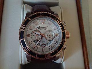 Ingersoll Quartz часы с хронографом и коричневым кожаным ремешком
