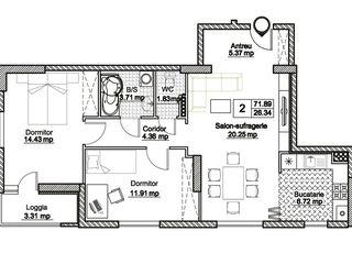 Varianta Alba, living+bucatarie, 2 dormitoare !t!