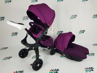 Новая детская коляска Dsland v6 модель 2в1 фиолетовая аналог stokke