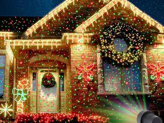 Лазерная гирлянда проэктор для дома Star showerс пультом и датчиком света