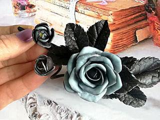 """""""Черная роза"""" заколка для волос из полимерной глины.Agrafa cu trandafir handmade din lut polimeric."""