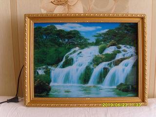 Картина  светильник водопад с подсветкой и музыкой