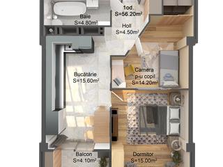 Чеканы - Двухкомнатная квартира -56,2 кв.м -28100 евро!