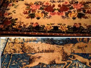 Ковер  старинный 290х145 см, гобелен- ковер180х120см,подушки пухо-перьевые,подушки меховые, скатерть