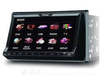 Автомагнитола pioneer gps + tv 7 inch 2din gps+ usb+cd + dvd + tv+bt+ipod+camera