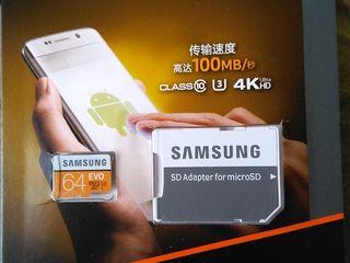 Micro SD Samsung Evo 64Gb/Samsung Evo Plus 128 Gb + usb / sd adapter - 250/450 lei.