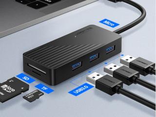 USB HUB и Card Reader - Ugreen 5 в 1 Card Reader + USB HUB + Micro USB.