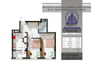 Centru!!!  Mănăstirea Ciuflea, 2 camere, 62 m2, Promotie! 40% acum, restul pe etape sau ipoteca!