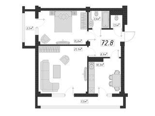 Apartament cu 2 odai. 73 m2 - 2000 eur prima rată!