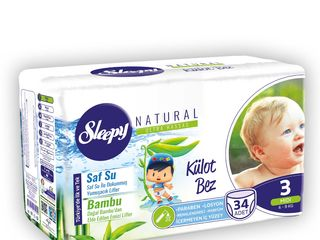 Scutece-chilotei Sleepy Natural Ultra Sensitive cu fibre absorbante din Bambus Natural.