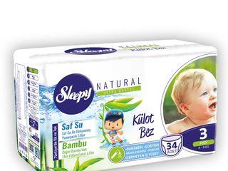 Scutece-chilotei Sleepy Natural Ultra Sensitive cu fibre absorbante din Bambus Natural.
