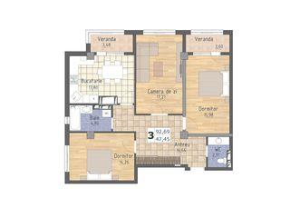 Oferta 3 odai, 93 m2, 550 Euro/m2, Buiucani, Valea Morilor