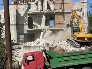 Demolari mecanizate , exavatoare pentru demolari.Terasament. excavări. transport basculante.