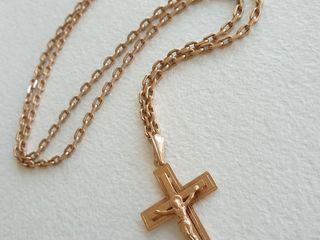 Мужская золотая цепь с крестом 585 пробы