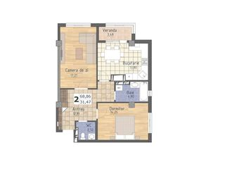 Apartament cu 2 odai, 34 400 Euro, achitare pe etape pina la 31.12.2019, fara dobinda!!!