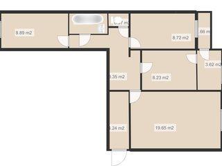 De vânzare apartament cu 3 odăi și încălzire autonomă la Autogara