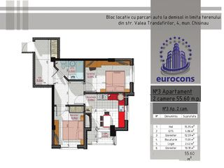 Ap. cu 2 camere etaj 3 din 9, Centru, varianta albă, la doar 27300e!!!