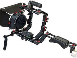 FILMCITY Schultersttze Mount Rig Kit mit Kamera Cage, Matte Box und 15mm Aluminium Stangen fr DSLR