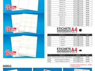 Etichete universale in foi A4 pentru orice tip de imprimante