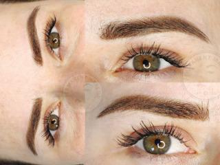 Пудровое напыление бровей, powder brows, micropigmentare efect pudrat