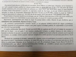 Licitatie de vinzare imobil 57280 lei