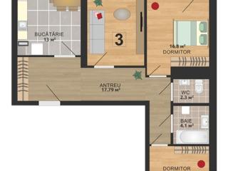 589 euro/m2 - apartament cu 3 odăi în sectorul a Rîșcani.