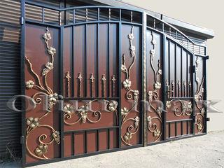 Porți, garduri, copertine, balustrade, gratii, uși metalice ,alte confecții din fier forjat.